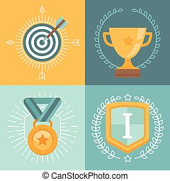 Vector achievement badges and emblems in flat style -...