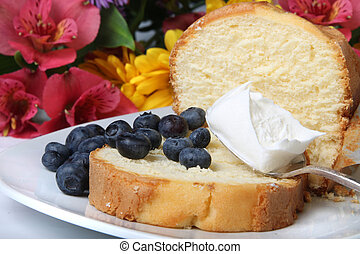 Blueberry shortcake - Slice of pound cake with blueberries...