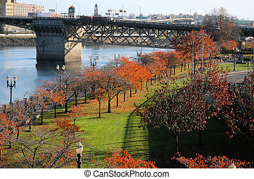 Portland Oregon river view - A view of the river area in...