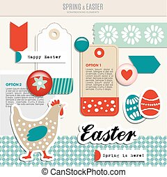 easter scrapbooking elements - Set of cute spring easter...