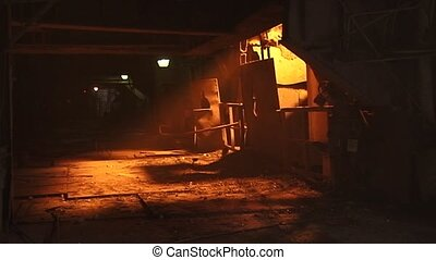 Steel plant - Pouring of liquid metal in open hearth...
