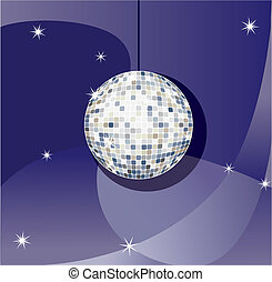 disco ball - Vector Mirror sparkling disco ball on a blue...
