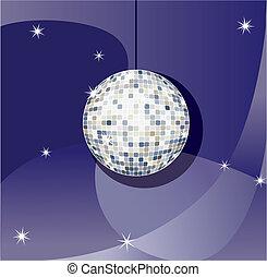 disco ball - Vector Mirror sparkling disco ball on a blue...
