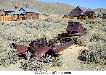 Truck Skeleton - rusted skeleton of a truck in old west...