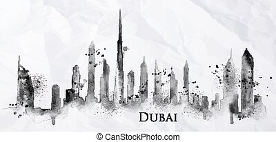 Silhouette ink Dubai - Silhouette of Dubai city painted with...
