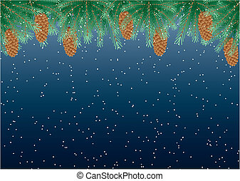 snow - vector christmas background - Pine branches with cone