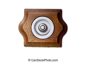 Ancient style doorbell button made of porcelain and wood....