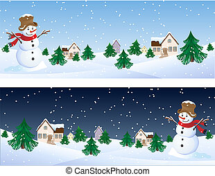 winter background - Vector illustration - snowman whis...