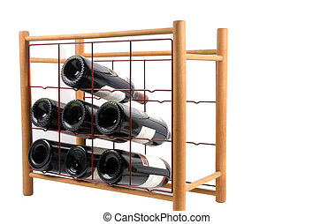 Wine Rack - cotemporary styled wine rack filled with bottles
