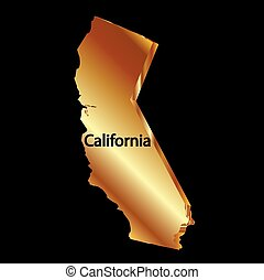 Gold california state 3D vector map logo