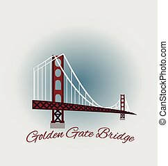 San Francisco Golden Gate Bridge emblem icon vector design