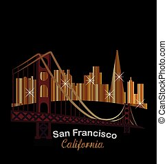 San Francisco gold skyline buildings night with bright...