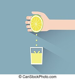 lemon squeeze - This is a hand squeezing a lemon