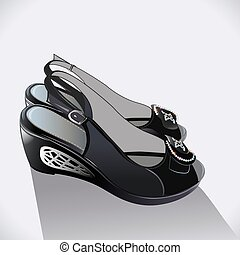 illustration shoes black patent leather on a white...