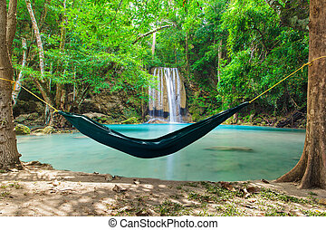 Hammock with waterfall