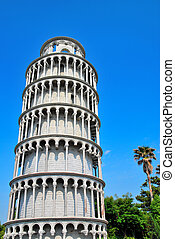 Leaning tower of Pisa - Low shot of the leaning tower of...