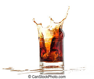 splash of cola in glass isolated on white background