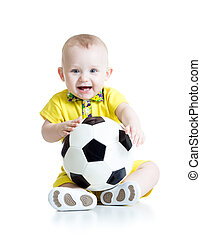 child boy with foot ball - happy baby boy with foot ball...