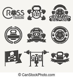 Cross Fitness and GYM logo - Set logos consisting of...