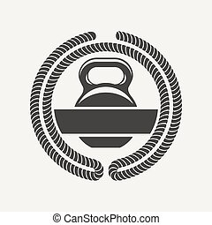 kettlebell logo - Emblem of the cross bars for fitness and...