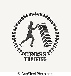 Cross Training man silhouet logo - Fitness emblem Silhouette...