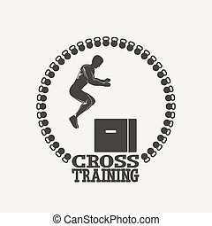 Cross Training man silhouet 3 logo - Fitness emblem...