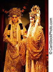 man, vrouw, standbeeld, Chinees, opera