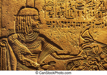 Egyptian hieroglyphics - detail of Egyptian hieroglyphics...