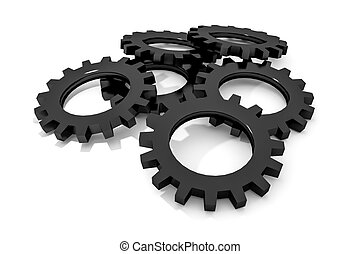 stack of black colored metallic cogwheels on white surface...