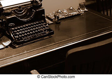 Old typewriter for bank on the desk
