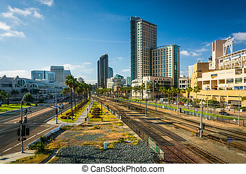 View of Harbor Drive and railroad tracks in San Diego,...