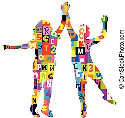 Children silhouettes patterned in letters and numbers
