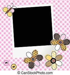 Scarpbook baby girl design with photo frame and patchwork...
