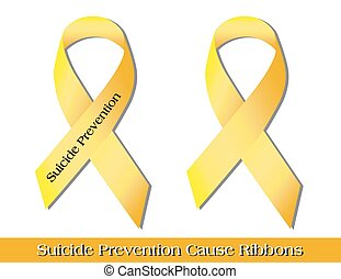 "Suicide Prevention Ribbons - Yellow ""cause ribbons"" --..."