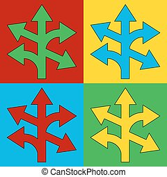 Pop art straight, left and right arrow symbol icons. Vector...