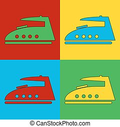 Pop art steam iron symbol icons Vector illustration