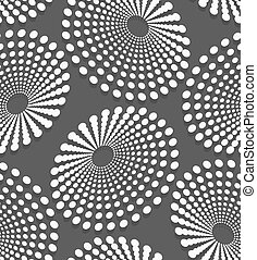 Geometrical pattern with white dotted concentric ovals -...