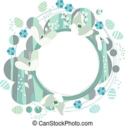 Spring frame with white snowdrops - Stylized easter spring...