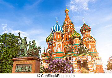 St Basil Cathedral in Moscow, Russia - Statue of Kuzma Minin...
