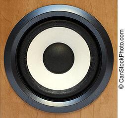 round bass sound speaker close-up