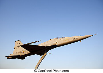 Retired CF-5 in the middle of a roundabout - BADAJOZ, SPAIN...