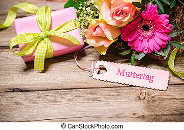 Mothers Day Background - Bunch of flowers and tag with...