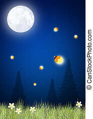 fireflies in the moonlight - illustration of fireflies in...