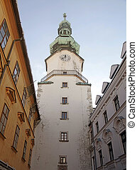 Tower of Michaels Gate, Bratislava, Slovakia - Tower of...