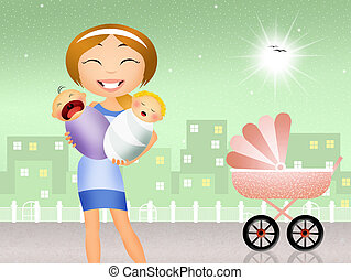 babysitter with babies - illustration of babysitter with...