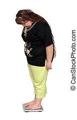 mujeres, Uno, lado, sobrepeso, escalas