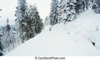 Ski descent - Riding on skis woman down road