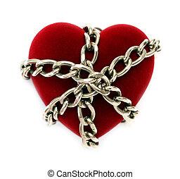 rojo, corazón, Cerrar con llave, cadena