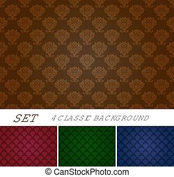 Set of seamless background with Damascus ornament in...