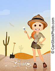 archaeologist girl - illustration of archaeologist girl